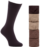 John Lewis Cotton Rich Socks, Pack Of 5, Brown