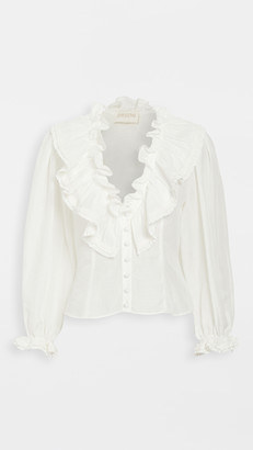 Divine Heritage Ruched Ruffle Neck Button Up Short Blouse