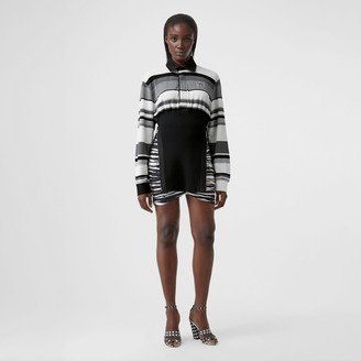 Burberry Long-sleeve Striped Cotton Reconstructed Polo Shirt
