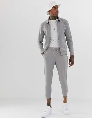 Asos Design DESIGN tracksuit with harrington and cropped skinny sweatpants in gray poly tricot