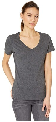 Pact Organic Cotton Featherweight V-Neck Tee (Black) Women's Clothing