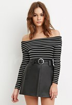 Forever 21 FOREVER 21+ Belted Faux Leather Skirt
