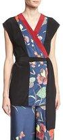 Diane von Furstenberg Floral-Print Stretch-Silk Kimono Wrap Top, Multicolor