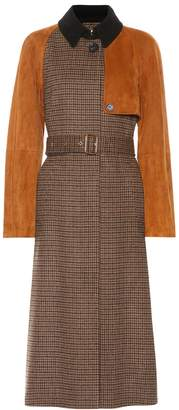 Salvatore Ferragamo Checked wool and suede trench coat