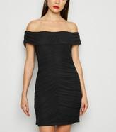 New Look Missfiga Ruched Mesh Bardot Dress