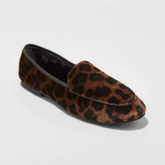 A New Day Women's Kasia Microsuede Faux Fur Lined Slip On Leopard Print Ballet Flats Brown