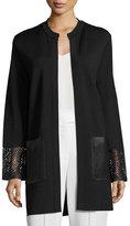 Rani Arabella Long Knit Coat w/Leather Trim, Black