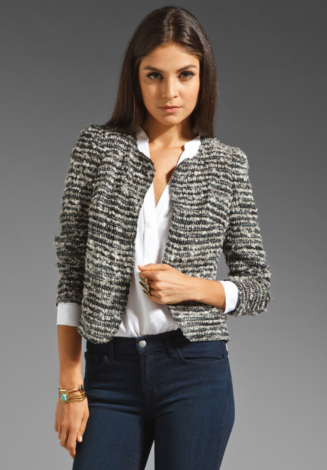 Of Two Minds Junie Basket Weave Jacket in Grey/Green