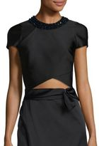 3.1 Phillip Lim Embellished Silk Blend Wrap Top