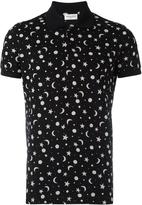 Saint Laurent star and moon print polo shirt