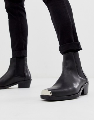 ASOS DESIGN stacked heel western chelsea boots in black leather with metal hardware