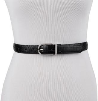 Chaps Women's & Plus Reversible Stretch Dress Belt with Crocodile Emboss