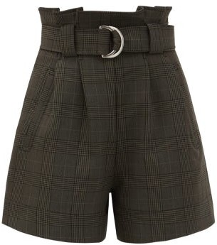 Ganni Prince Of Wales-check Belted Shorts - Dark Grey