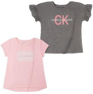 Calvin Klein Big Girls Logo Two Pack Tees