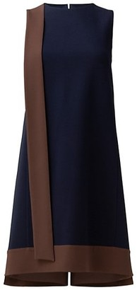 Akris Sleeveless Bicolor Crepe Sash Dress
