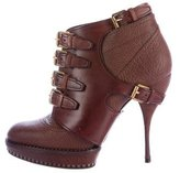 Christian Dior Buckle-Accented Platform Ankle Boots
