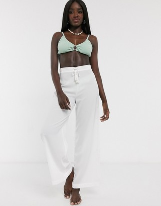 Glamorous Exclusive beach pants in white