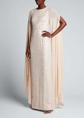 Rickie Freeman For Teri Jon Chiffon Cape-Sleeve Beaded Column Gown