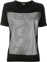 Fendi silver logo T-shirt - women - Cotton - 38