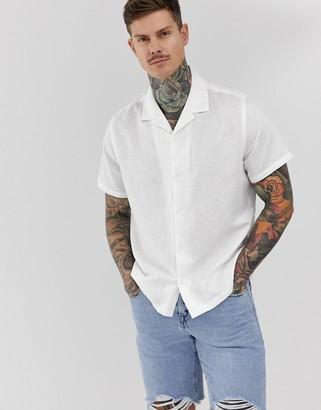 Asos Design DESIGN oversized linen shirt with revere collar in white