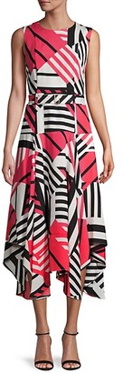 Calvin Klein Abstract-Print Asymmetrical Dress