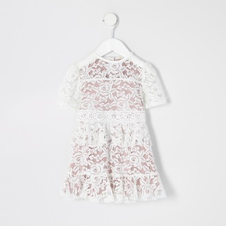 River Island Mini girls White lace skater dress