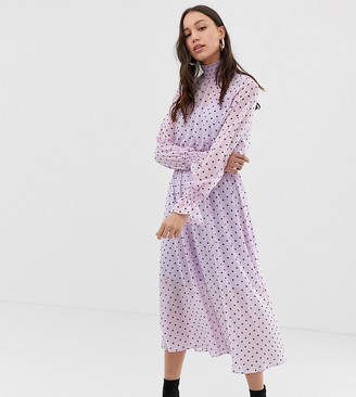 Glamorous Tall high neck midi dress in spaced polka dot-Purple
