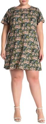 Tash + Sophie A-Line Short Sleeve Floral Print Dress (Plus Size)
