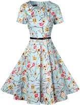 OFEEFAN Women's 1960s Short Sleeve Floral Rockabilly Retro Dress with Belt M