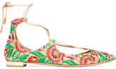 Aquazzura Christy Embroidered Canvas Point-toe Flats - Green
