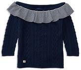 Ralph Lauren Girls' Ruffle Trim Cable Sweater - Sizes S-XL