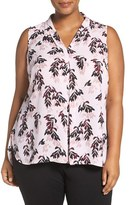 Vince Camuto Plus Size Women's 'Leaf Trio' Print Sleeveless Pleat V-Neck Top