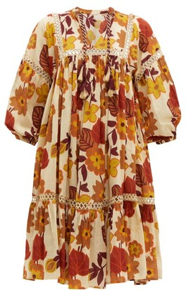 Dodo Bar Or Nell Floral-print Cotton-poplin Smock Dress - Womens - Cream Print
