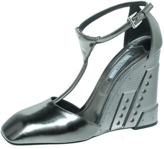 Prada Metallic Green T Strap Metal Embossed Wedge Sandals Size 41