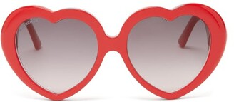 Balenciaga Heart Acetate Sunglasses - Womens - Red