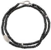 Nina Gilin Black Onyx & Diamond Pave Long Beaded Necklace