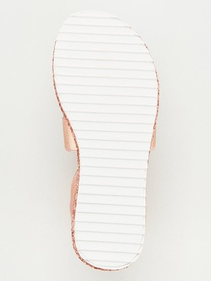 Very Girls Elastic Strap Glitter Sole Sandal - Rose Gold