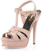 Saint Laurent Tribute Leather Platform Sandal, Pale Rose