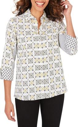 Foxcroft Britten Decorative Tile Cotton Sateen Button-Up Blouse