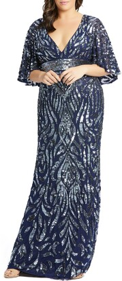 Mac Duggal Sequin Cape Sleeve Evening Gown