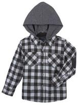 Andy & Evan Hooded Gingham Flannel Shirt, Black, Size 2-7