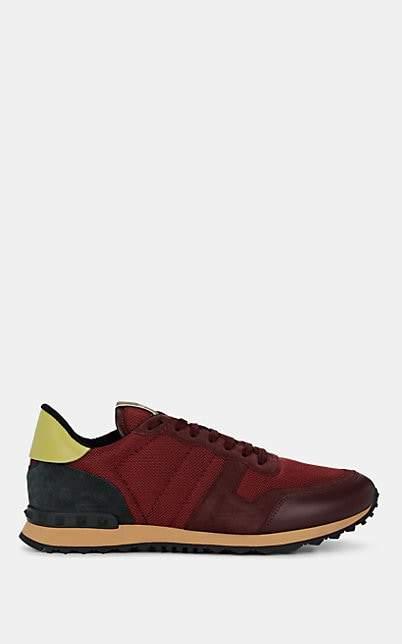 Valentino Garavani Men's Rockrunner Mixed-Material Sneakers - Wine