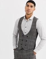 Gianni Feraud Skinny Fit Wool Blend Burgundy Check Suit Waistcoat-Grey
