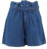 MSGM High-rise Belted Denim Shorts - Womens - Denim