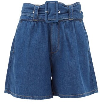 MSGM High-rise Belted Denim Shorts - Womens - Denim