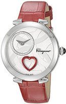 Salvatore Ferragamo Women's 'Beating Heart' Swiss Quartz Stainless Steel and Leather Casual Watch, Color:Red (Model: FE2030016)