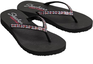 Skechers Womens Meditation Perfect 10 YOGA FOAM Flip Flops Black/Multi Rhinestone