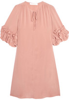 See by Chloe Ruffled Silk Mini Dress - Blush