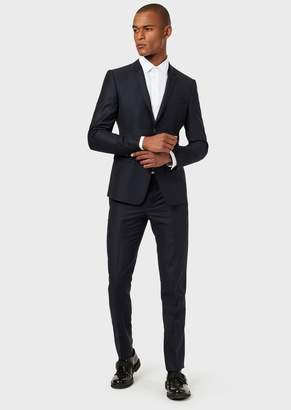 Emporio Armani Single-Breasted Micro-Textured Wool Suit