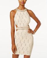 B. Darlin Juniors' Sequined Lace Cutout Bodycon Dress